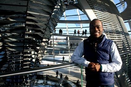 Black man in modern building