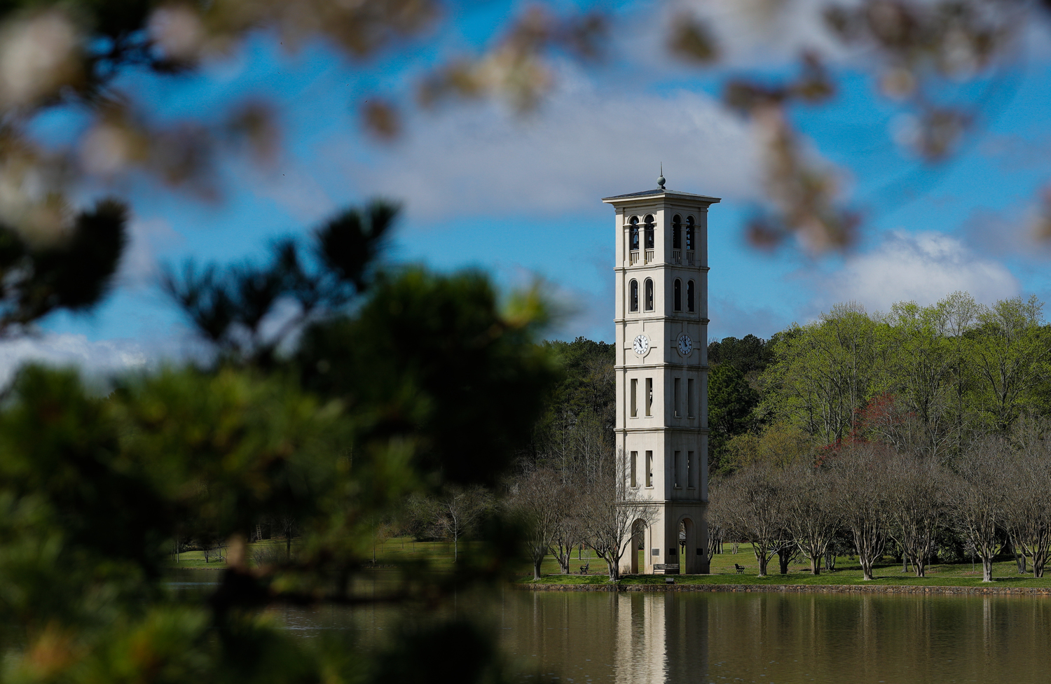 bell tower and lake
