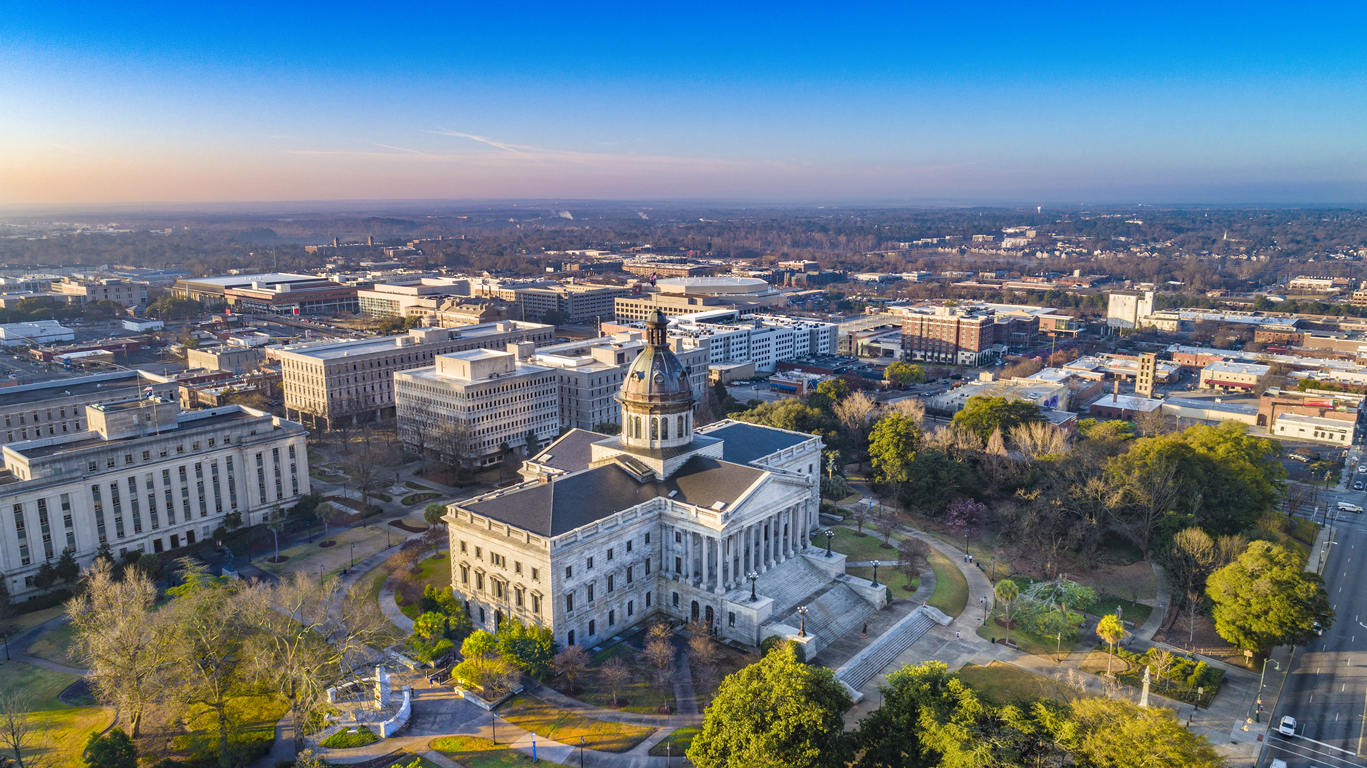 aerial view of South Carolina Statehouse