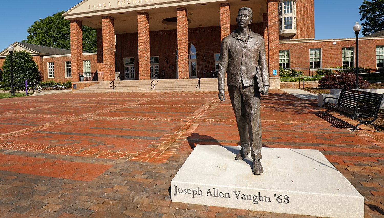 The Joseph Vaughn statue in front of the Duke Library