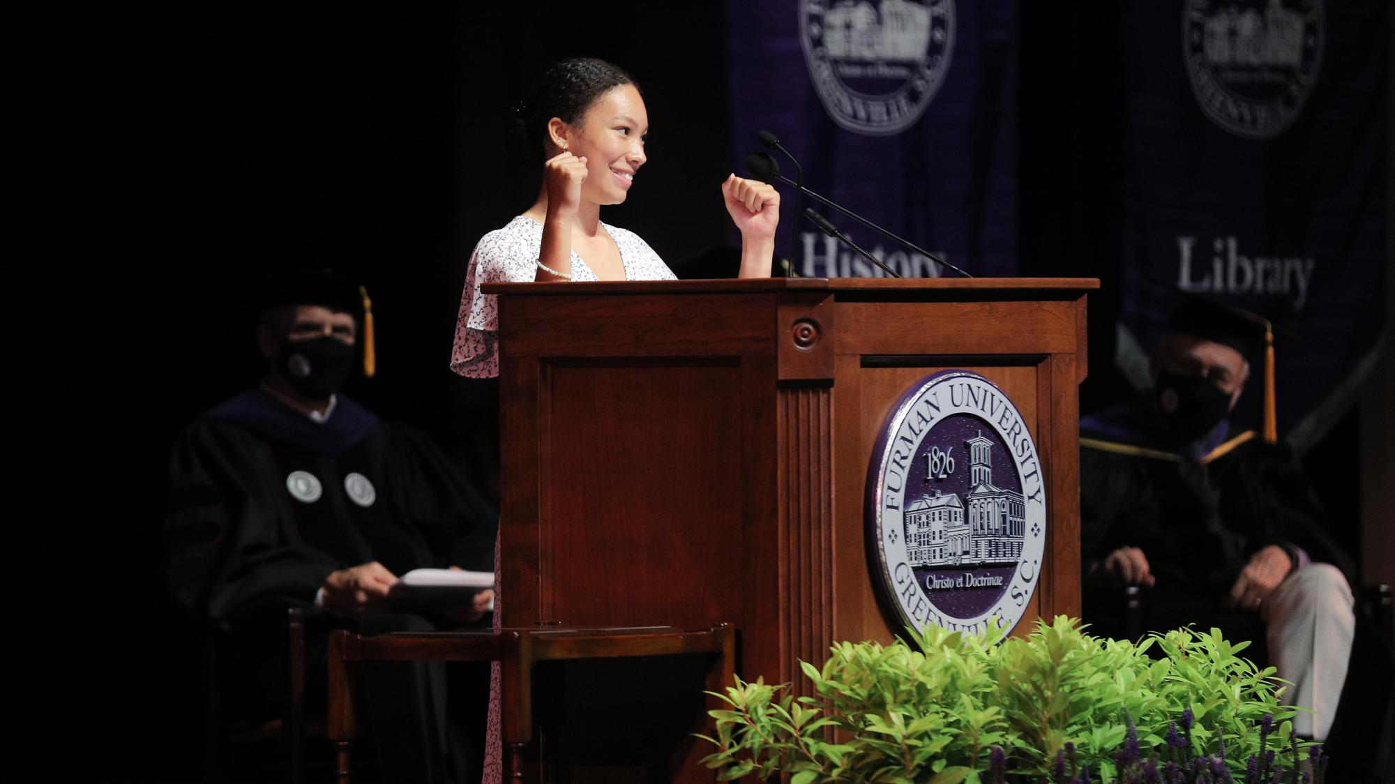 Student Government Association President Asha Marie Larson-Baldwin '22 greets students during the Fall 2021 Opening Convocation ceremony.