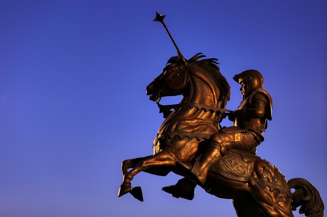 statue of knight on horse, Furman Paladin
