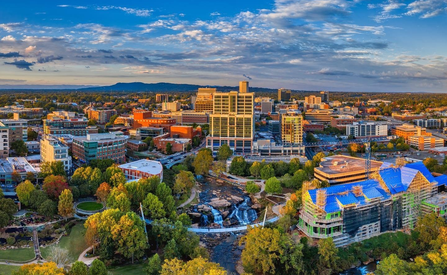 aerial view of the City of Greenville, Vanzeppelin photography