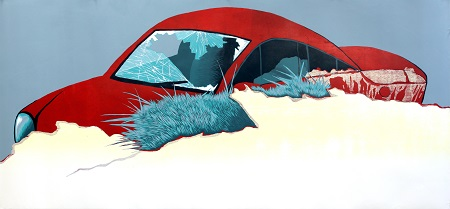 art depicting red car in collision