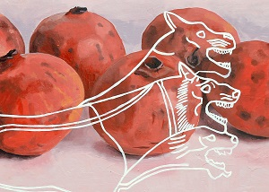 art depicting fruit overlaid with three-headed dog by Michael May