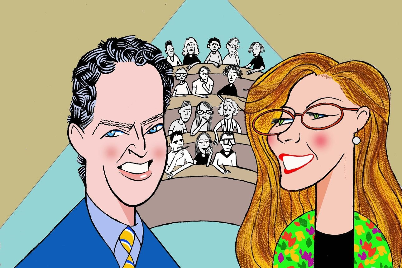 caricature of man and woman, Benjamin Storey and Jenna Silber Storey, by Ken Fallin for WSJ