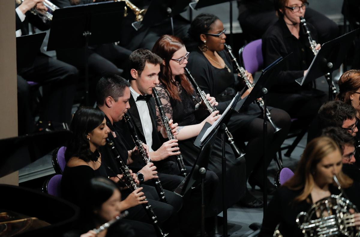 clarinetists and hornists, Furman Symphonic Band