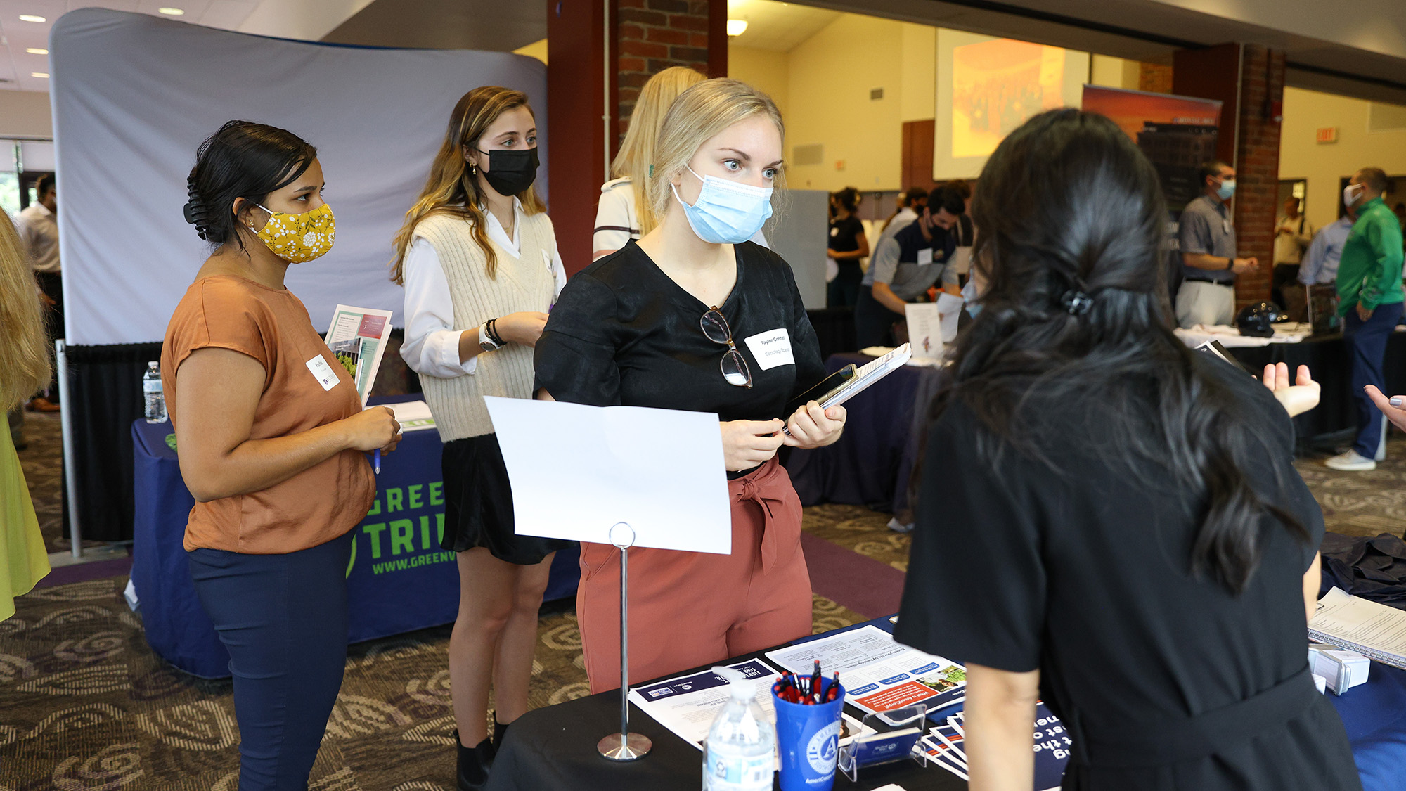 Opportunity Fair 2021 took place in the Watkins Room of the Trone Student Center.