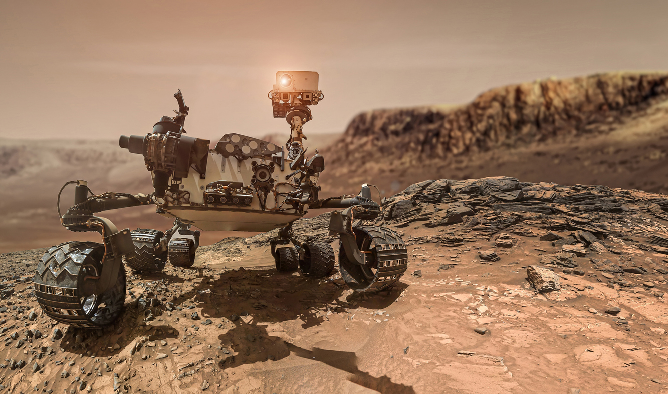 Mars rover on surface of red planet