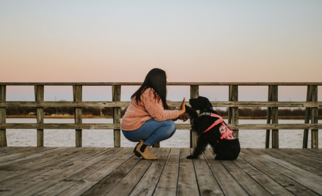 Alexa and her service dog Jetta on a pier high-fiving