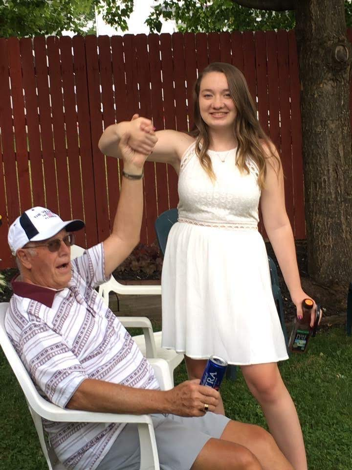 Gabby Huff and her grandfather at her high school graduation