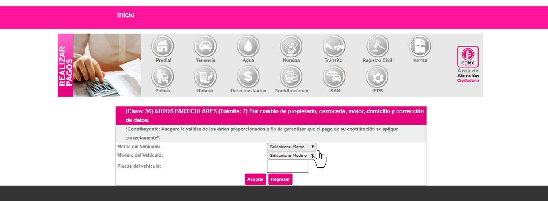 a1cde1bd7 ... modelo y número de placa. Una vez que le des aceptar, te enviará a una  página en donde puedes descargar tu línea de captura o bien pagar en línea.