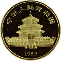 1982  1/10oz Gold Panda Coin Rev