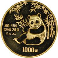 1984 12oz  G1000Y Gold Panda Coin Obv