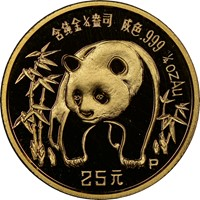 1986P  G25Y Gold Panda Coin Obv