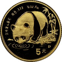 1987P  G5Y Gold Panda Coin Obv