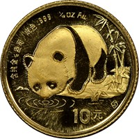 1987S  G10Y Gold Panda Coin Obv