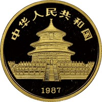 1987P  G25Y Gold Panda Coin Rev