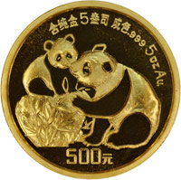 1987 5oz  G500Y Gold Panda Coin Obv