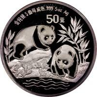 1991 5oz  S50Y Silver Panda Coin Obv