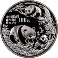 1991 12oz  S100Y Silver Panda Coin Obv