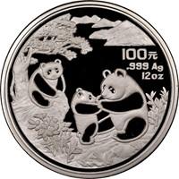 1993 12oz  S100Y Silver Panda Coin Obv