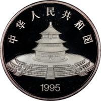 1995 5oz  S50Y Silver Panda Coin Rev