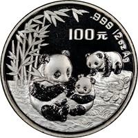 1995 12oz  S100Y Silver Panda Coin Obv