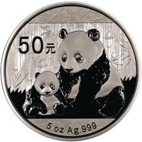 2012 5oz  S50Y Silver Panda Coin Obv