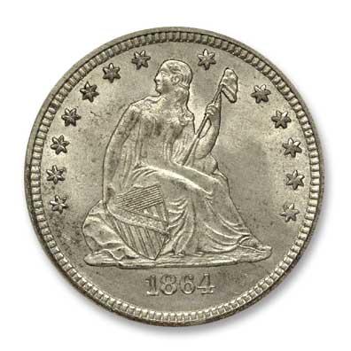 NGC -Eliasberg 1864 Quater Dollar Obv