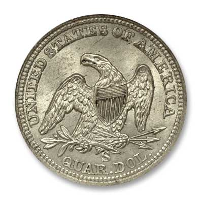 NGC -Eliasberg Quarter Dollar 1864 Rev