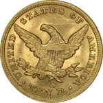 Graded SS Republic Coin - 1865-S Eagle with Inverted Date