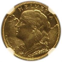 Switzerland Gold 10 Franc obverse