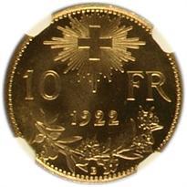Switzerland Gold 10 Franc reverse