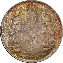 Canada Silver Half Dollar reverse