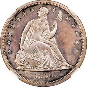 1840 $1 PF obverse