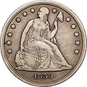 1859 S S$1 MS obverse