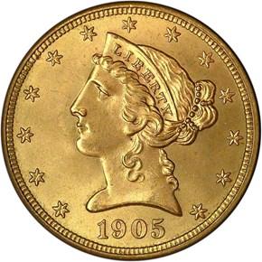 1905 $5 MS obverse