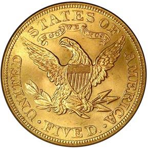 1905 $5 MS reverse