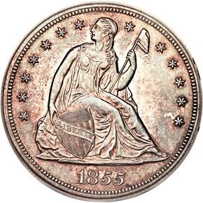1855 $1 MS obverse