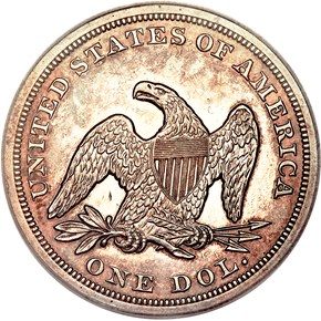 1855 $1 MS reverse