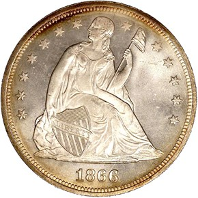 1866 MOTTO $1 MS obverse