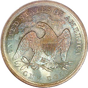1866 MOTTO $1 MS reverse