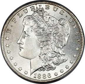 1886 S $1 MS obverse