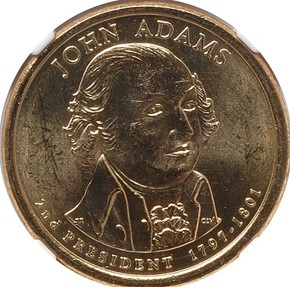 2007 P JOHN ADAMS DBL.EDG.LET. - INVERTED $1 MS obverse