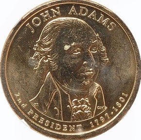 2007 P JOHN ADAMS DBL.EDG.LET. - OVERLAPPED $1 MS obverse