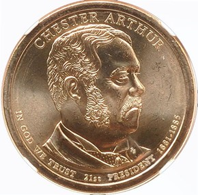 2012 P CHESTER ARTHUR $1 MS obverse