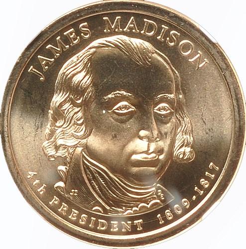 2007-P $1 James Madison Presidential Dollar BU