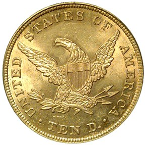 1839 LG LET HEAD OF 38 $10 MS reverse