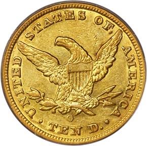 1858 O $10 MS reverse